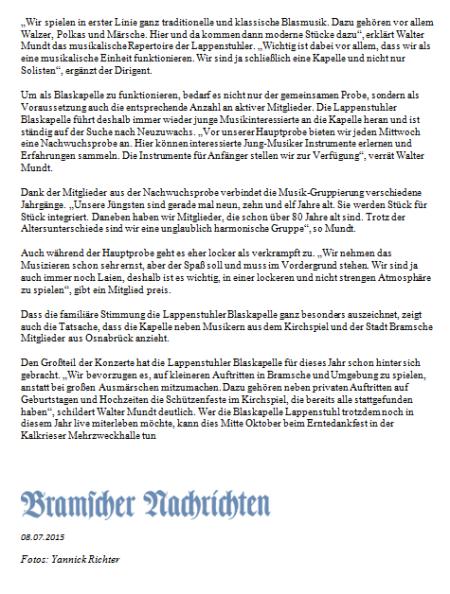 Bramscher Nachrichten 08.07.2015
